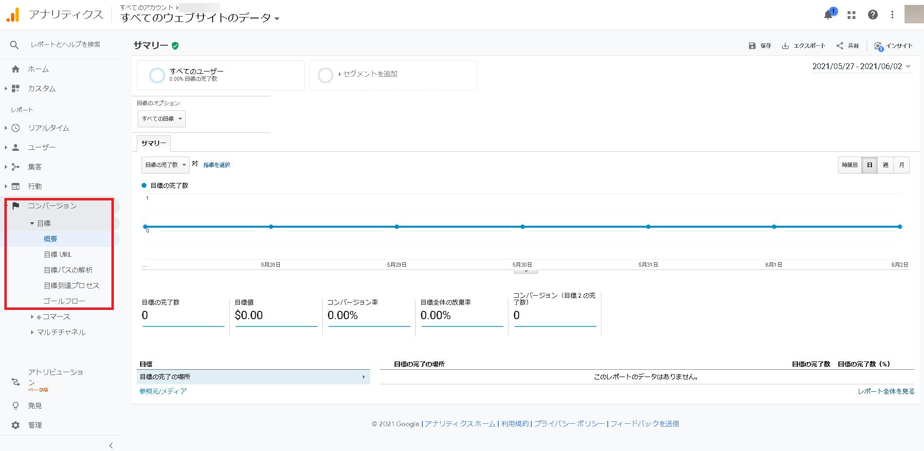 GoogleアナリティクスのCV測定結果の確認方法2